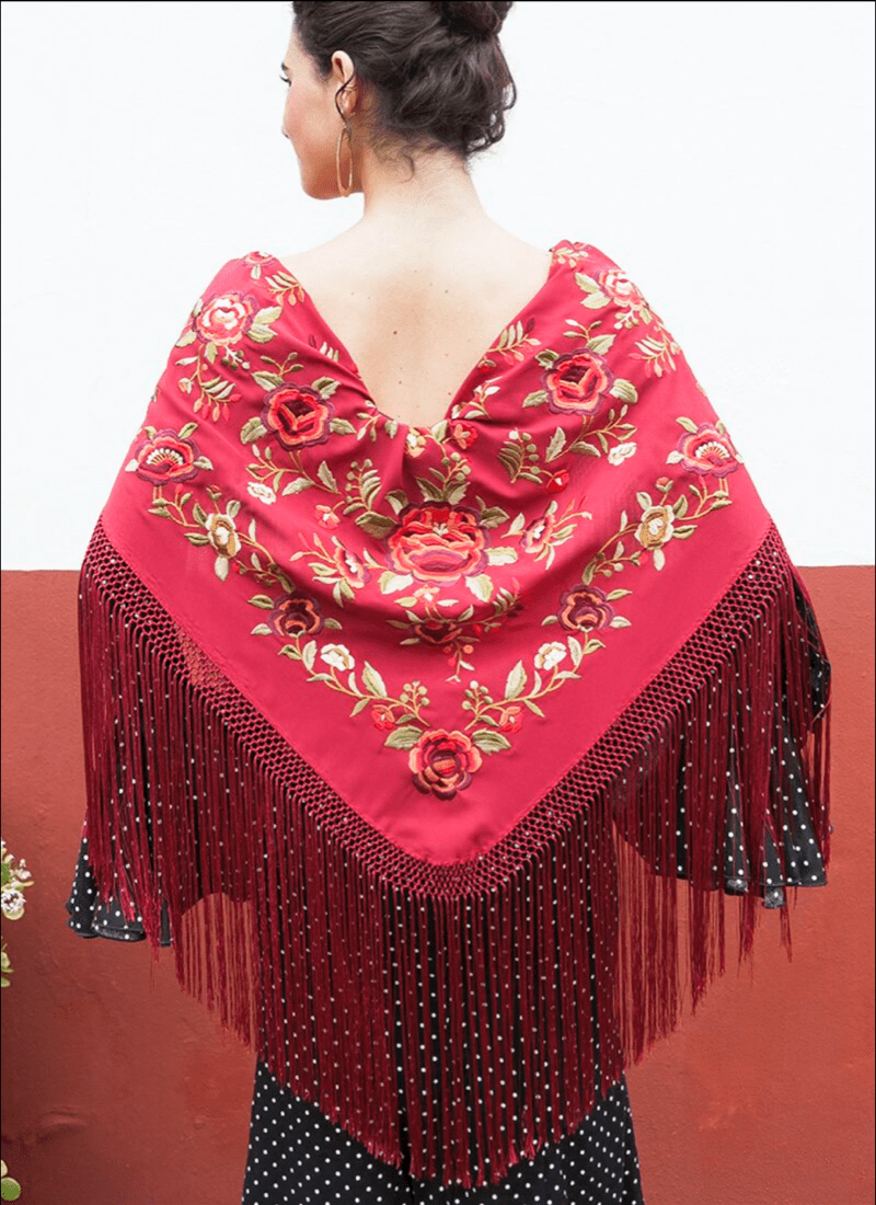 Mantón Rojo flores rojas | Complementos Flamenca | The Nook Store