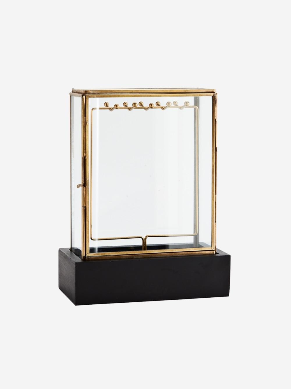 Joyero Expositor Black Wooden, hecho en metal y cristal